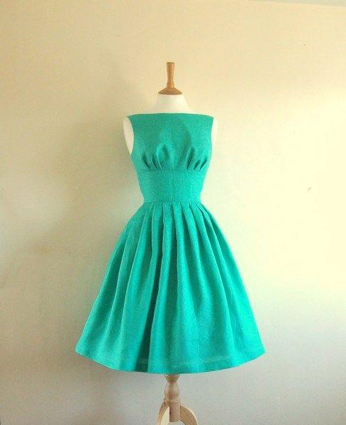 robe rétro années 50 en lin, dawanda.com