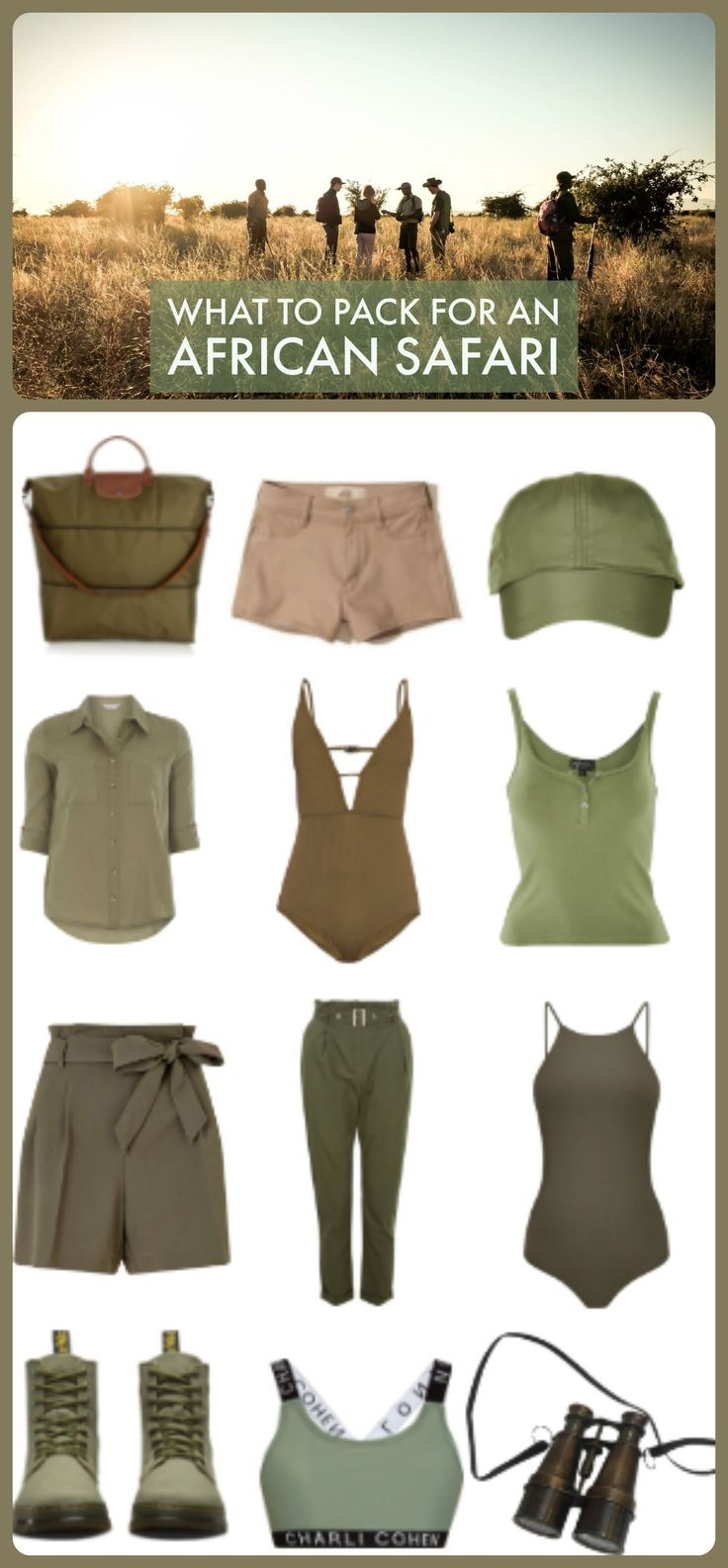 All you need to pack for a great African safari! From walking boots to safari hats this is all you need for safari's in Tanzania, Kenya, South Africa and beyond.