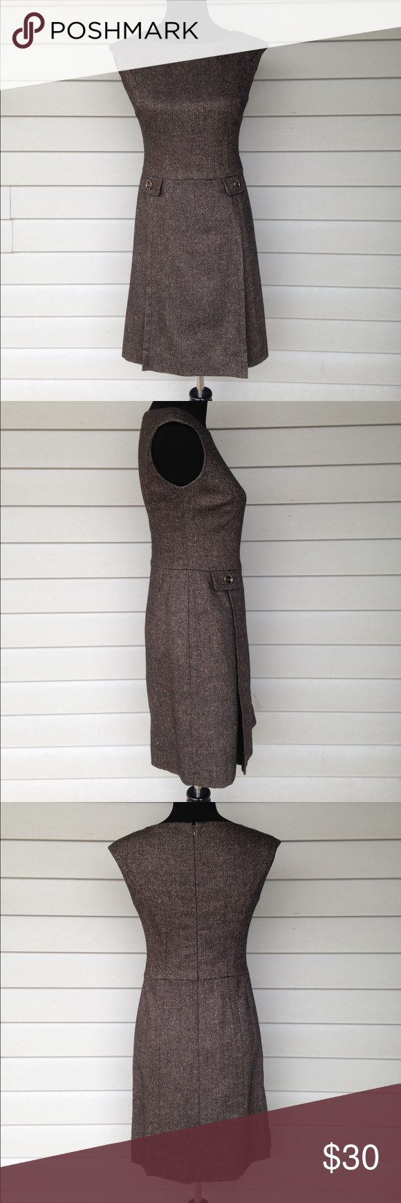 Ann Taylor petite dress Ann Taylor petite brown wool blend sleeveless dress. Has pleating in front and a back zip. Size 2 petite. Ann Taylor Dresses