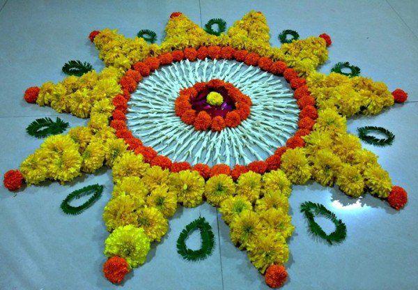 Rangoli Design with marigold flowers