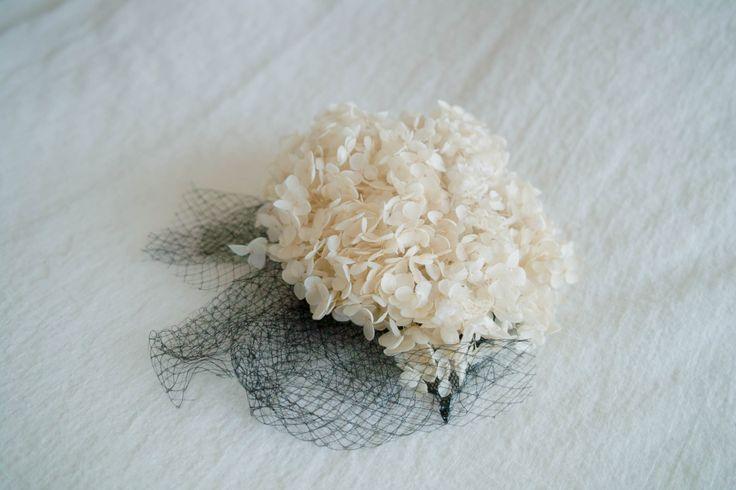 紫陽花とチュールのヘッドドレス(No.h-0002) http://www.pale-wedding.com