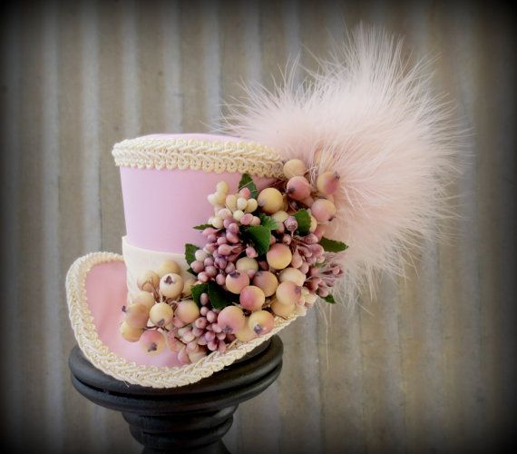 Bubble Gum Pink Berry Christmas Mini Top Hat Flower by ChikiBird, $32.00