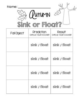 Autumn Sink or Float Worksheet FREEBIE! Visit www.littlelearninglane.com for more fun ideas & FREE printables!