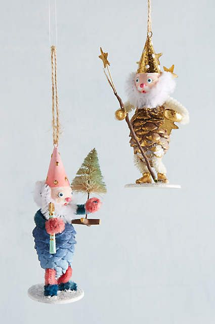 Anthropologie EU Pinecone Gnome Ornament. This charming gnome has donned his finest festive livery.