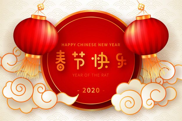 Download Realistic Chinese New Year Background With Lanterns For