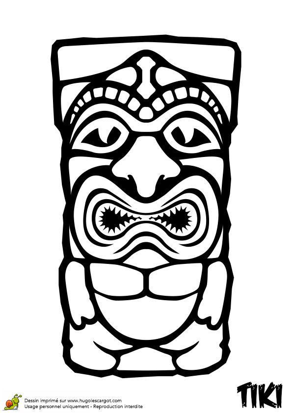 Dessin à colorier du Tiki méchant