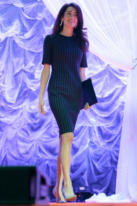What: A pinstriped shift dress, dangling pearl earrings and Paul Andrew nude pointed-toe pumps    When: November 15, 2016    Where: The Texas Conference for Women in Austin, TX
