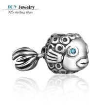 Auténtica plata de ley 925 ángel encantos de pescado con ojos azules Rhinestone adapta European Brand pulseras joyería Animal del Vintage(China (Mainland))  €11,72
