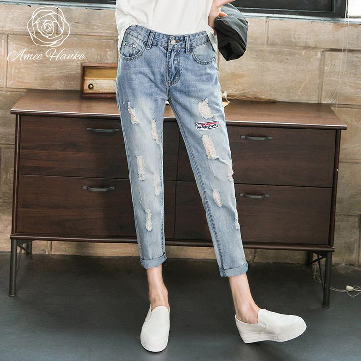 2017 Skinny Women Plus Size Jeans Elastic Mid Waist Boyfriend Slim Pencil Pants Casual Scratched Trousers Denim For Fit Feminina