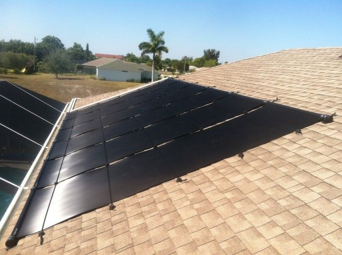 Solar Pool Heating Panels On Shingle Roof In Cape Coral