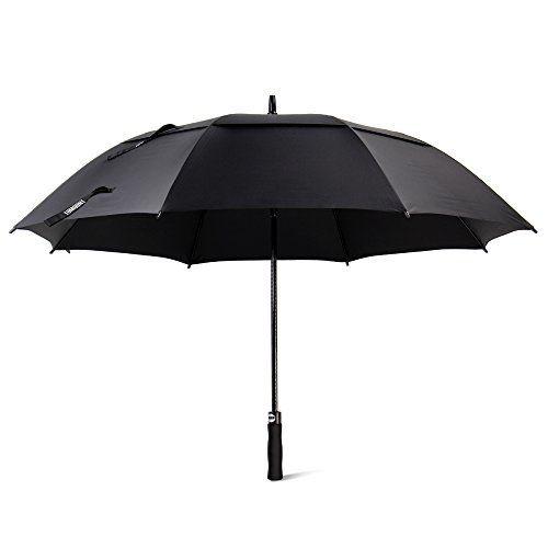 $6.89 (70% Off) on LootHoot.com - Golf Umbrella, Large Windproof Umbrella for Men, 62'' Wind Resistant Umbrella Auto Open Rain Umbrella Black Extra Large for Women, Double Canopy Oversized Stick Umbrella with Cover