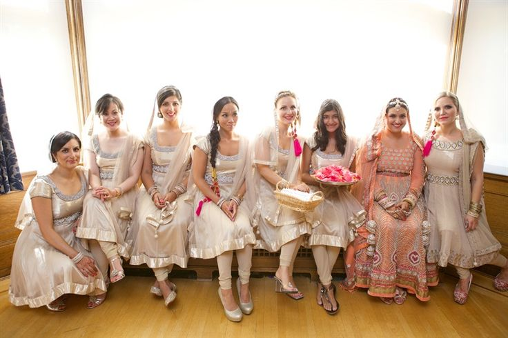 Bridesmaids in White Salwar Kameez by Gucio Photography