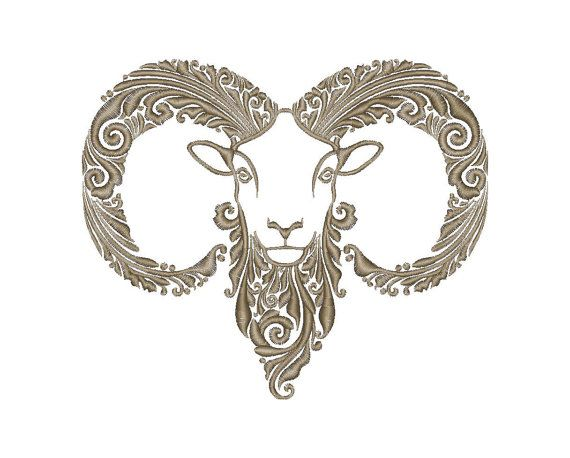 Goat Machine Embroidery Design Instant Download Four
