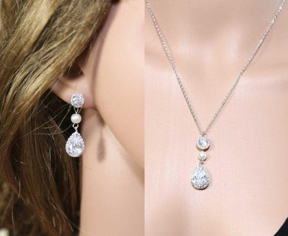 Ketting set bruiloft, bruids ketting ingesteld, strass ketting set, zirkoon Crystal necklace set, Zoetwaterparel ketting oorbellen set
