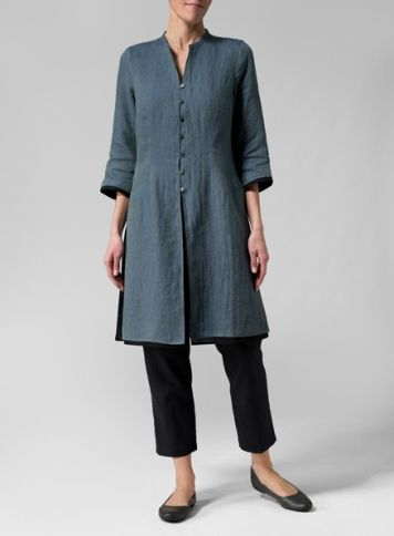 Linen Double Layers Long Top With Narrow Ankle Length Trousers Set