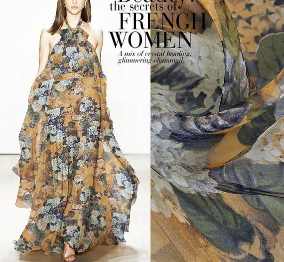 Floral Print Orange 100% Pure Silk Chiffon Fabric Width 53