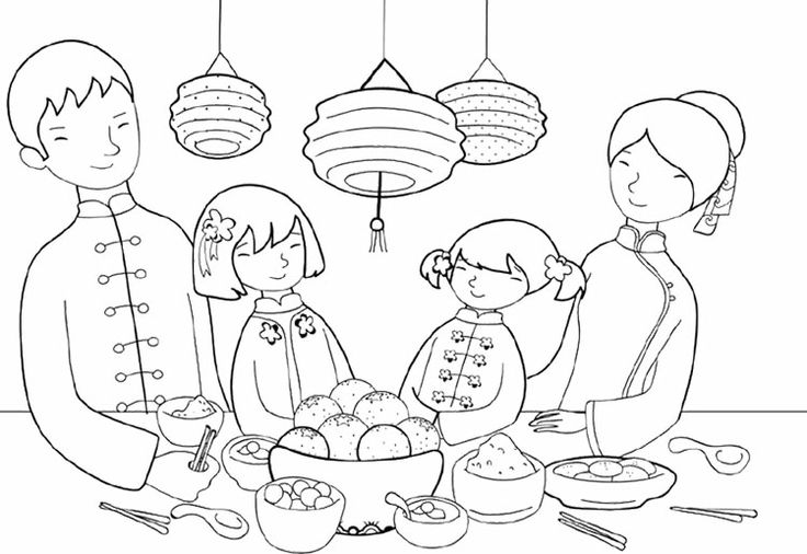 Chinese New Year Dinner Coloring Page | Kids Coloring ...