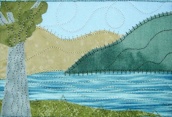 Mountain Lake Handmade Fabric Postcard, Quilted Greeting Card, Postcard Art. $12.00, via Etsy.