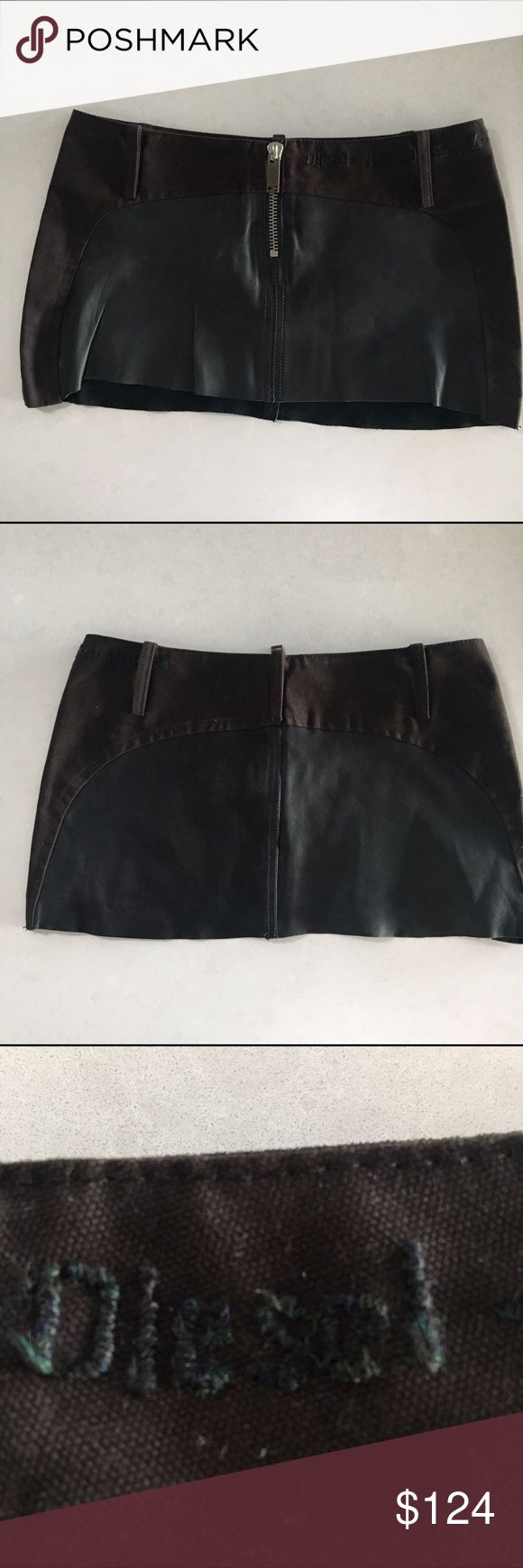 Diesel Leather Micro Miniskirt Va va voom!   Micro mini with a cotton top and raw edge bottom.   Industrial embroidery at the top. Diesel Skirts Mini