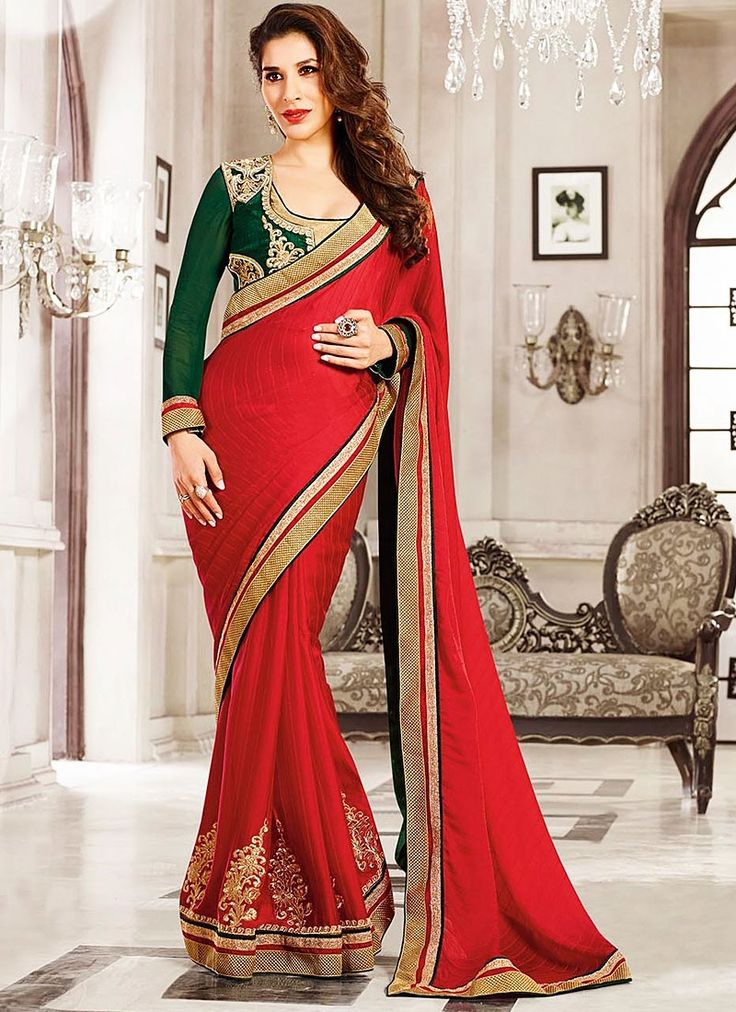 Spiffing Red Jacquard Georgette Saree