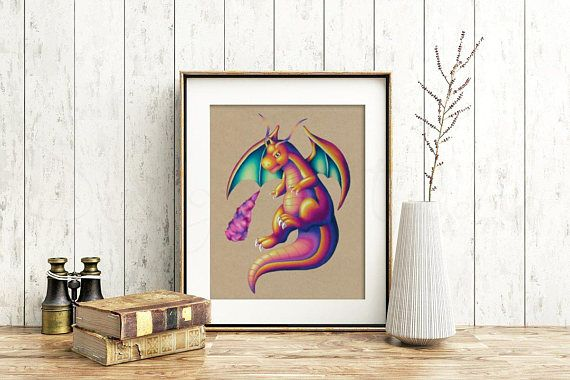 Dragonite Art Signed Print Pokemon Art Pokemon Geek Art