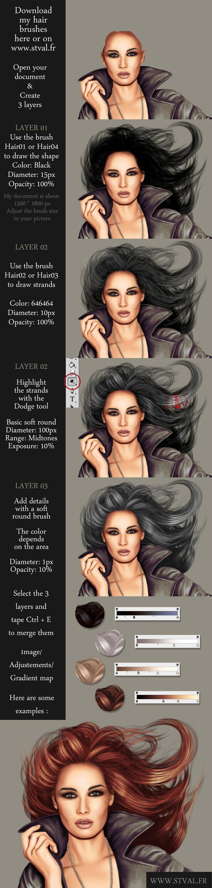 74 best illustration digital art tutorials images on pinterest hair tutorial with brushes by stephanievalentin on deviantart digital painting baditri Image collections