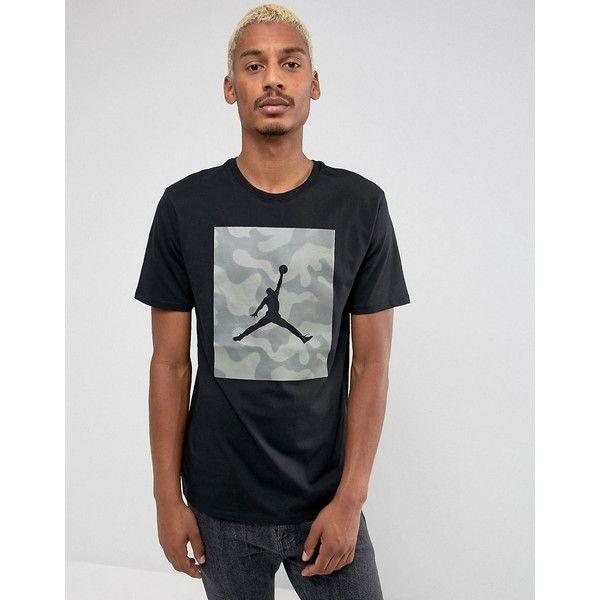 Nike Jordan Camo Print T-Shirt In Black 925809-010 ($49) ❤ liked on Polyvore featuring men's fashion, men's clothing, men's shirts, men's t-shirts, black, j crew mens shirts, mens print shirts, mens short sleeve shirts, mens cotton t shirts and mens tall shirts