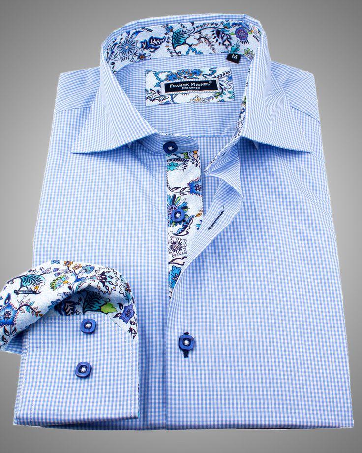 European style shirt, blue slim fit dress shirt with unique floral pattern designed by Franck Michel