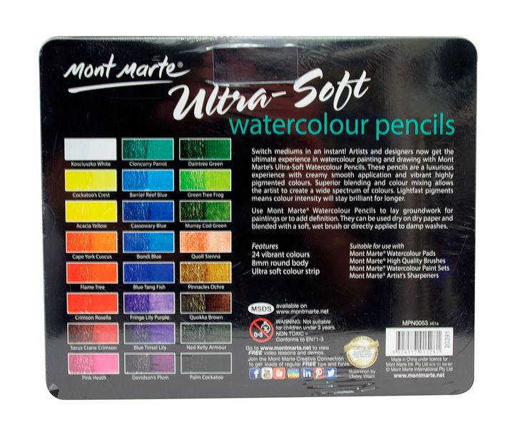 Mont Marte Ultra-Soft Watercolour Pencils 24pce, $16.95 (http://www.artshedonline.com.au/mont-marte-ultra-soft-watercolour-pencils-24pce/)