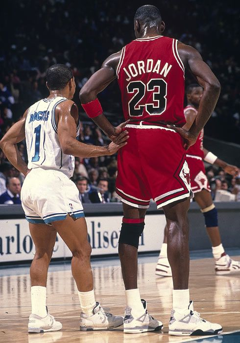 Muggsy Bogues & MJ. Short stuff.  Big guards had fits covering Muggsy, but, he gave them fits coming down court because he was so damn close to the ground