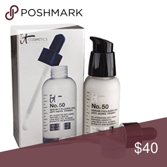 No. 50 Serum™ Anti-Aging Collagen Veil Primer Includes 10 essential oils and butters, 10 nourishing botanicals, 30 fruit and plant-based extracts plus powerful antioxidants and vitamins including vitamin A, B5, brightening C & E! Peptides, hydrolyzed collagen, silk and niacin all work together for you all daylong, while hyaluronic acid provides a healthy drink of hydration your skin. Aloe, jojoba, licorice root, chamomile and colloidal oatmeal, just to name a few, offer a load of benefits…