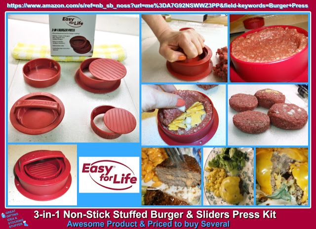 "Truth Be Shared: ""Easy For Life's"" ~ 3 in 1 Stuffed Burger Press Kit worked so well for me the first time I used it.  I would definitely recommend this for anyone who loves burgers.  Perfect addition to your Kitchen tools, and would make a perfect, & helpful gifting idea for any occasion. It's Definitely worth a look and priced to buy a few!! https://www.amazon.com/s/ref=nb_sb_noss?url=me%3DA7G92NSWWZ3PP&field-keywords=Burger+Press"