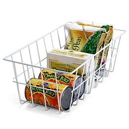 Freezer Storage Baskets    Keep packages, boxes, and bags of frozen foods organized and easy to access with our Freezer Storage Baskets. Made from vinyl-coated steel wire, these baskets resist rust and will not scratch the interior of your freezer. They're available in two sizes.