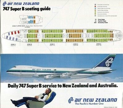 Air New Zealand 747 Seating Chart & Advert