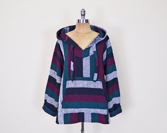 #Vintage #Mexican #Baja #Hoodie Baja Mexican Hoodie #Stripe Hoodie Mexican #Poncho Mexican Blanket Baja Pullover Jacket Drug Rug #90s #Grunge #Surf S M L XL #Hoody #DrugRug Surfer #Striped #Etsy #EtsyVintage #TrashyVintage @Etsy $38.00