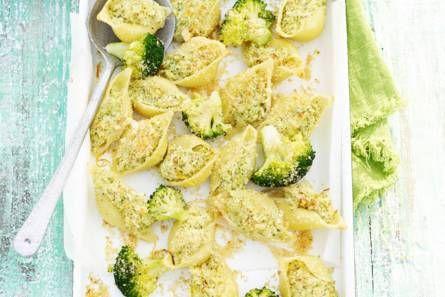 Gevulde pasta met broccoli & geitenkaas