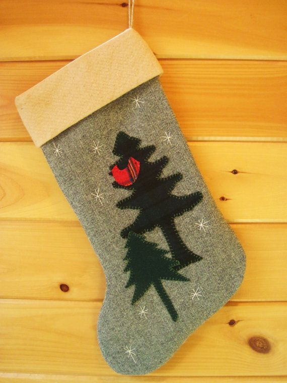 Cardinal in the Pines Christmas Stocking  by AwayUpNorth on Etsy #maineteam #christmas