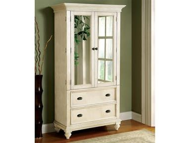 Constructed of hardwood solid and Ash veneer. Two wrap-around doors with beveled edge mirror inserts enclose an adjustable shelf, a fixed shelf, three drawers, and wiring access hole.