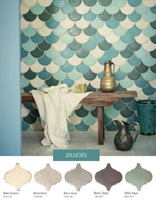 Tiles by fired earth. This graduated colour scheme contrasted with shape kills it!