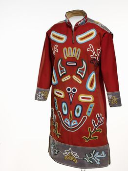 Tlingit Woman's tunic circa 1900 Alaska, Wool cloth, cotton cloth, glass bead/beads