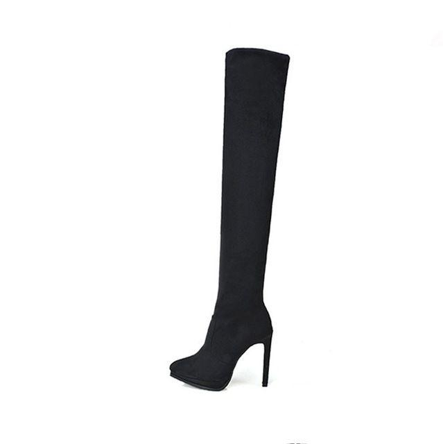 Черный Над Коленом Сапоги Длинные Кожаные Сапоги Зимние Натуральная Кожа Обувь Бедро Высокие Сапоги Для Женщин Бесплатная Доставка SMYCN-C0056