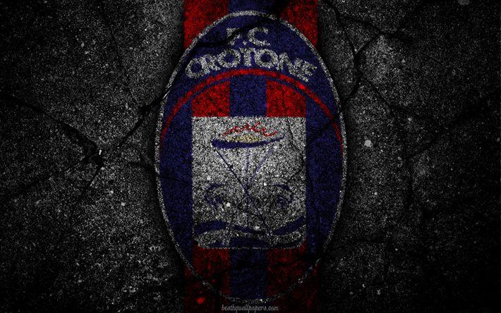 Descargar fondos de pantalla Crotone, logotipo, del arte, de la Serie a, fútbol, club de fútbol, el FC Crotone, asfalto textura