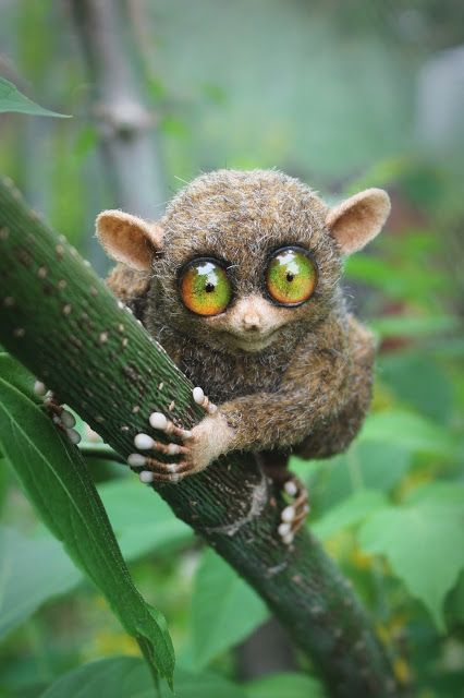 "Handmade stuffed toy ""The tarsier"". Size: 8 cm. Materials: plush, glass, plastic, wire, wool."