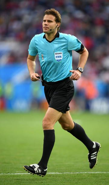 2c991bf70 Referee Felix Brych looks on during the 2018 FIFA World Cup Russia group E  match between Serbia and Switzerland at Kaliningrad Stadium on June 22.