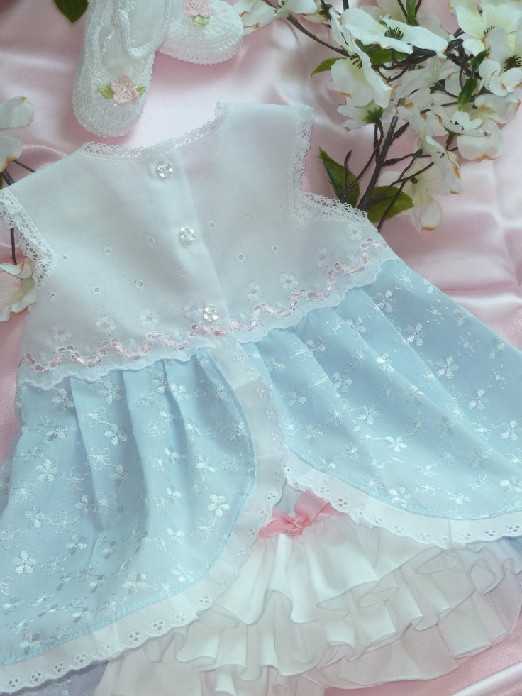 3 - 6 Months White and Blue  Eyelet Baby Dress