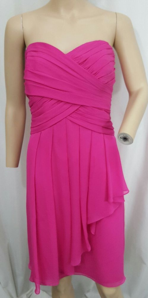 Details : Crinkle chiffon cascading ruffle sweetheart neck strapless empire waist dress. Color : Pink. Material : 100% poly, 100% poly lining. Made in: China. | eBay!