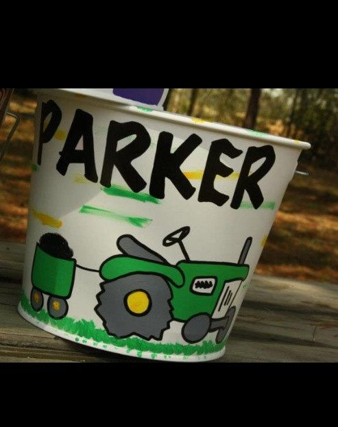 John Deere Gifts >> Pin on Easter buckets, Easter baskets for boys, hand painted Easter baskets