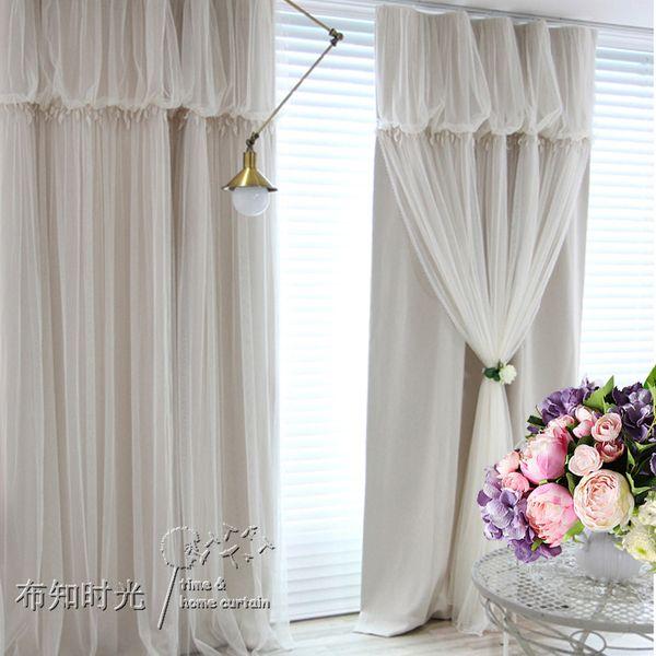 Корейский кружева сплошной цвет двойные европейские окна принцесса высококлассные салон красоты этаже спальня залива шторы закончили на заказ