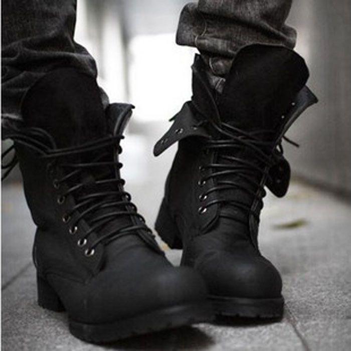 cfc824707f2 Retro Combat boots Winter punk-style fashionable Men s short Black shoes