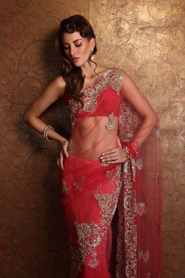Red Hot Sheer Saree